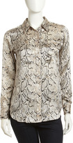 Equipment Signature Python-Print Silk Blouse, Natural