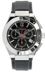 Versace Men's 41mm Landmark Chronograph Watch w/ Leather Strap, Black