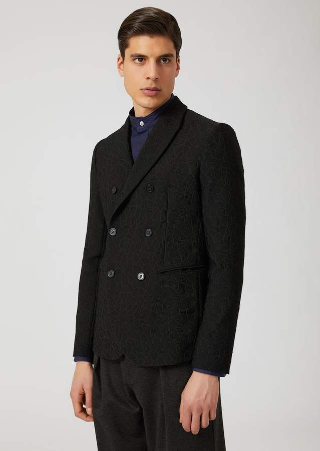 Emporio Armani Double-Breasted Jacket With Classic Lapel And Geometric Pattern