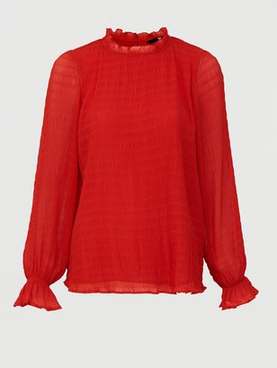 Very Shirred Ruffle Neck Woven Blouse - Red