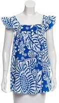 Tibi Printed Short Sleeve Top