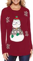 TIARA INTERNATIONAL Tiara Snowman Crew Neck Sweater
