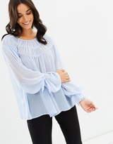 Mng Ruched Flowing Blouse