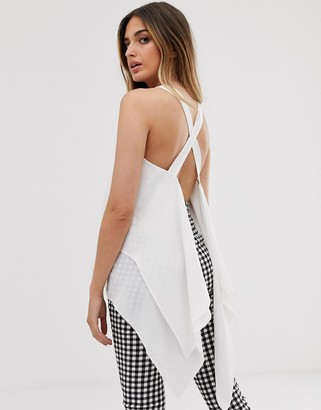 Asos Design DESIGN double layer cami with asymmetric hem and open back-White