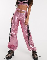 Namilia wide leg high shine trousers with utility pockets