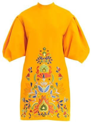 Carolina Herrera Dramatic Puff Sleeve Embellished Shift Dress