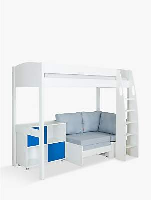 Stompa Uno S Plus High-Sleeper with White Headboard, Grey Chair Bed and 2 Door Cube Unit