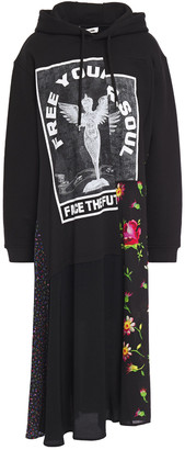 McQ Paneled Printed French Cotton-terry And Crepe De Chine Hooded Midi Dress