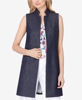 Tahari ASL Stitched Chambray Vest