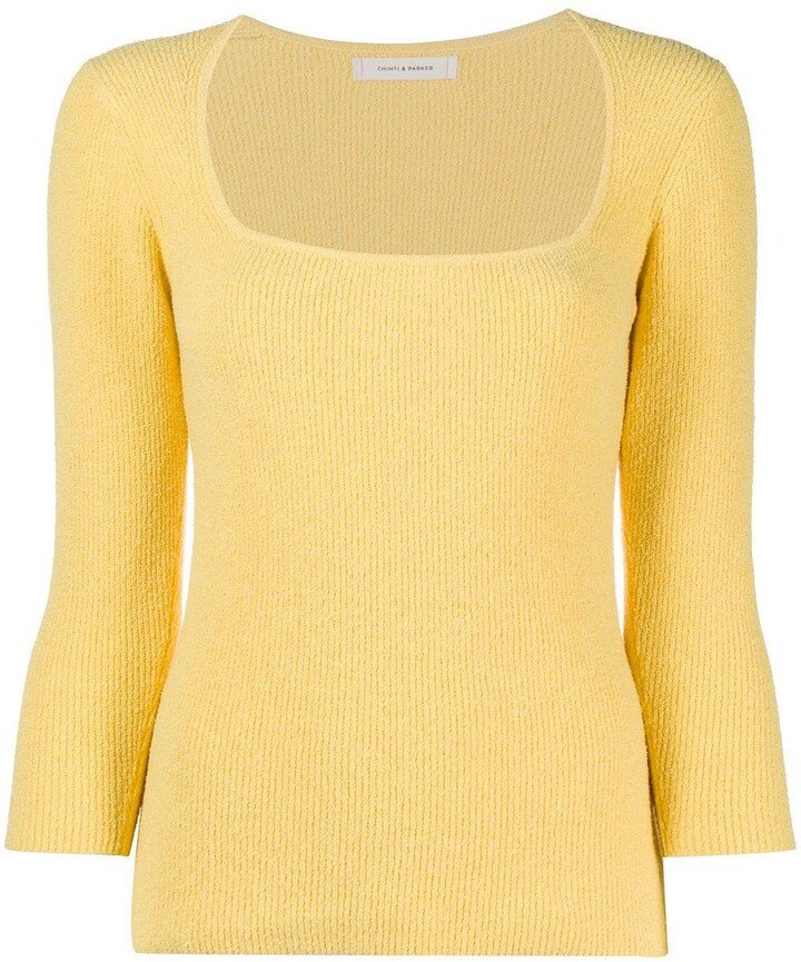 Chinti and Parker Square Neck Ribbed Knitted Top