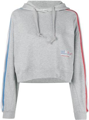 adidas Logo-Stripe Cropped Drawstring Hoodie