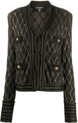Balmain metallic threading V-neck cardigan