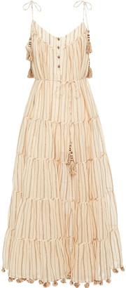 Zimmermann Tiered Metallic Striped Cotton-blend Gauze Midi Dress