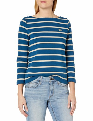 Lacoste Womens Long Sleeve Boat Neck Striped Heavy Rib Mariniere Sweatshirt Sweatshirt