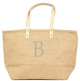 Cathy's Concepts 'Nantucket' Monogram Jute Tote - Beige