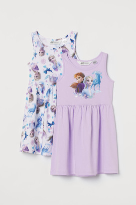 H&M 2-pack Printed Dresses - Purple