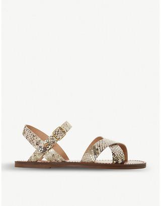 Dune Lavell cross-strap snakeskin-effect leather sandals