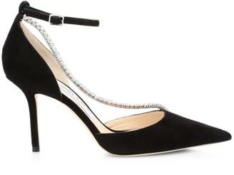 Jimmy Choo Talika Embellished Suede d'Orsay Ankle-Strap Pumps