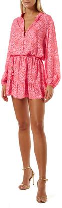 Melissa Odabash Bluebird Animal-Print Button-Up Shirtdress