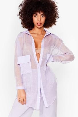 Nasty Gal Womens Sheer and Far Oversized Shirt - Purple - 4