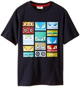 Fendi Short Sleeve T-Shirt w/ Monster Faces Graphic Boy's T Shirt