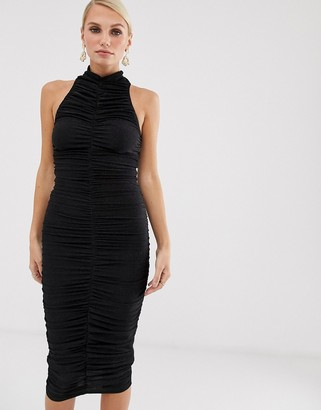 AX Paris high neck bodycon dress-Black