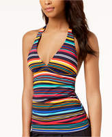 Nautica Striped V-Neck Halter Tankini Top Women's Swimsuit