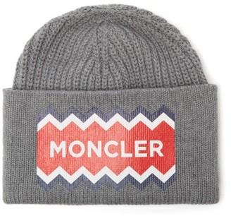 Moncler Logo-print Wool Beanie Hat - Mens - Grey Multi