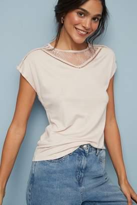 Next Womens Caramel Lace Detail Top - Cream
