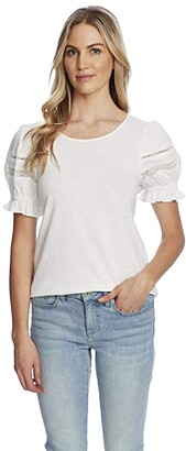 CeCe Puffed Sleeve Cotton Knit Top with Trim Detail (Soft Ecru) Women's Clothing