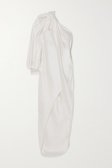 RALPH & RUSSO One-sleeve Draped Silk-satin Gown - White