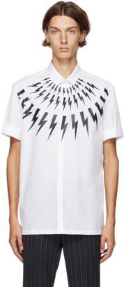 Neil Barrett White Thunderbolt Short Sleeve Shirt