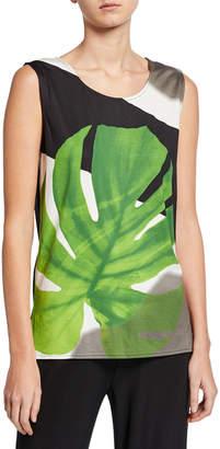 Caroline Rose Plus Size Palm-Print Stretch-Knit Tank