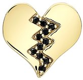 Alison Lou Women's 14 ct Yellow Gold Black Diamond Broken Heart Single Stud Earring