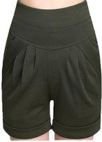 Miaokalin Women's Plus Size Candy Color High-rise Elastic Sweat Harem Shorts (L, )
