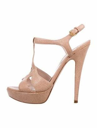 Miu Miu Embossed T-Strap Sandals Beige