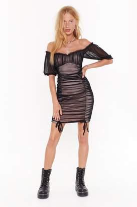 Nasty Gal Womens Will Flower Off-the-Shoulder Mini Dress - black - 8
