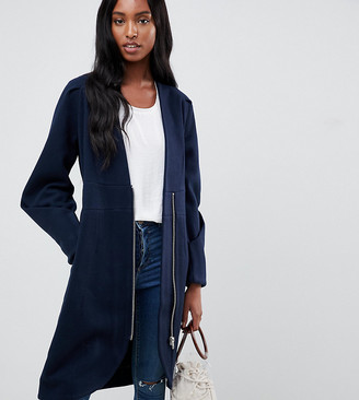 Y.A.S Tall zip front collarless coat-Navy