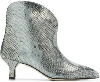 Paris Texas metallic snakeskin effect ankle boots