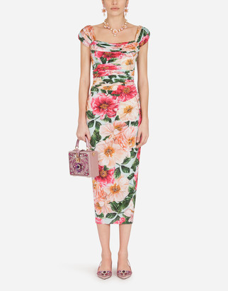 Dolce & Gabbana Camellia-Print Viscose Jersey Midi Dress
