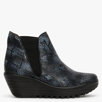 Fly London Woss Black & Grey Snake Leather Wedge Ankle Boots