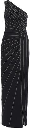 Halston One-shoulder Metallic-trimmed Crepe Gown