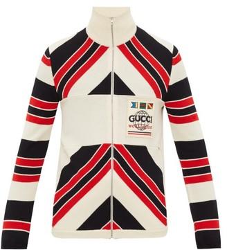 Gucci Worldwide Logo-patch Striped Wool Cardigan - Black Red