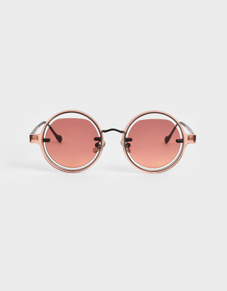 Charles & Keith Cut-Out Round Sunglasses