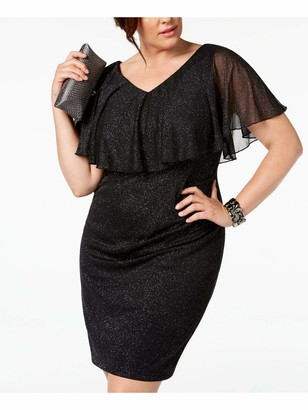 Connected Apparel Womens Black Sleeveless V Neck Above The Knee Sheath Cocktail Dress Plus US Size: 14W