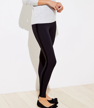 LOFT Petite Velvet Side Stripe Leggings