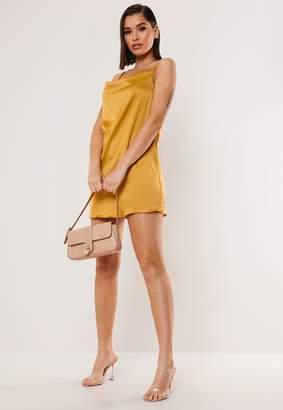 Missguided Mustard Satin Cowl Cami Mini Dress