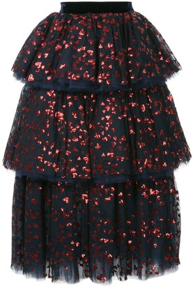 macgraw Sequin Embellished Tiered Skirt