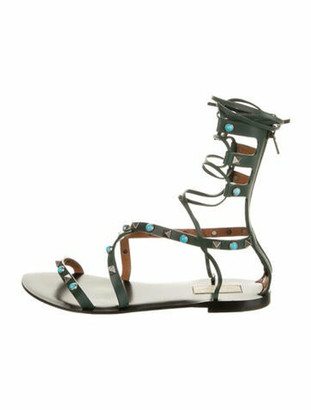 Valentino Leather Studded Accents Gladiator Sandals Green