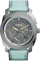 Fossil Men's Chronograph Machine Green Leather Strap Watch 45mm FS5189